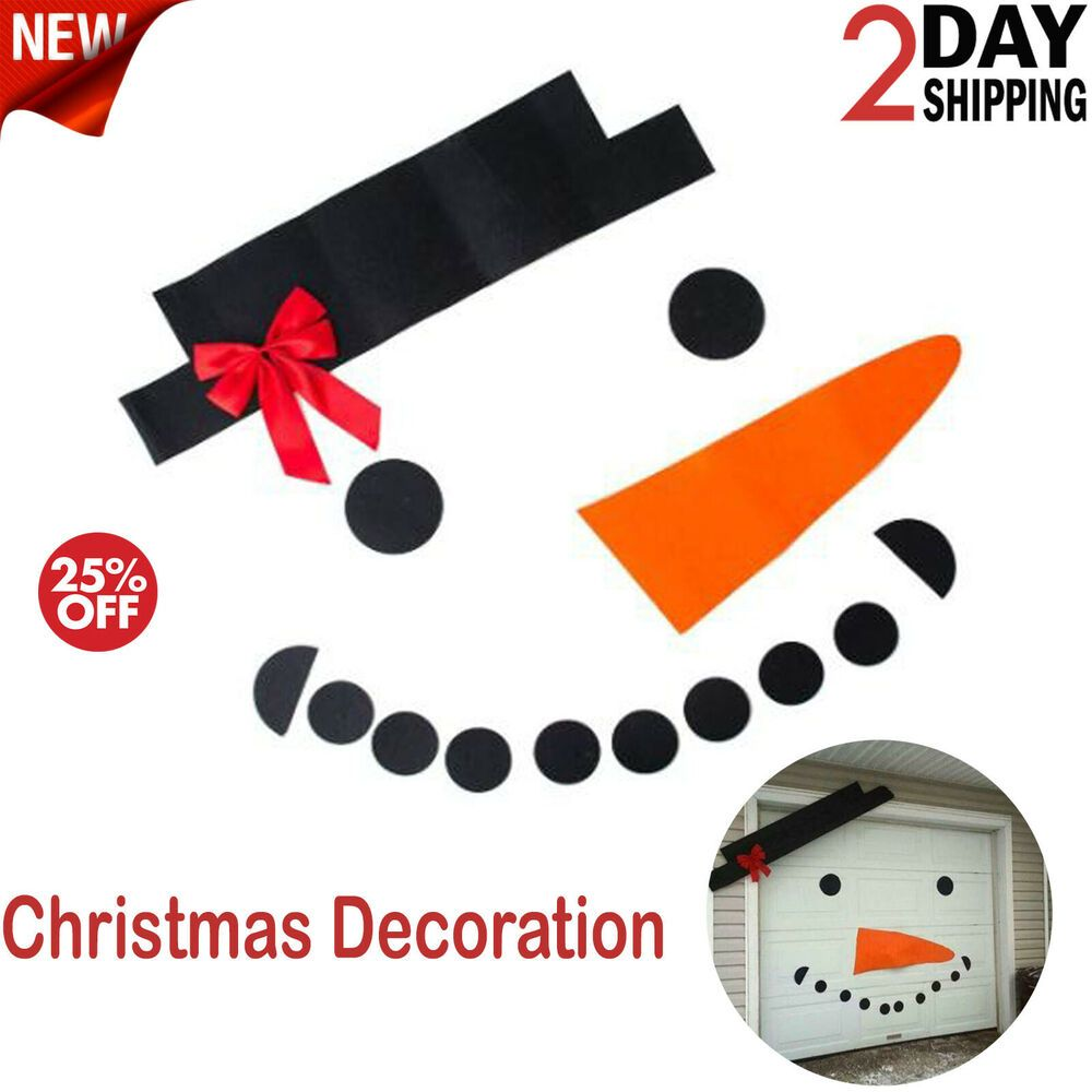 DIY Christmas Snowman Outdoor Decoration Garage Gate Door Elk Bow Hat B BXDEW0/&