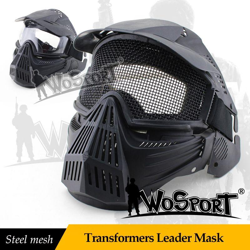 Wosport tactical paintball maschera maglia di acciaio pieno viso maschere di sicurezza campo cs airsoft gioco di guerra dell'esercito paintball accessori