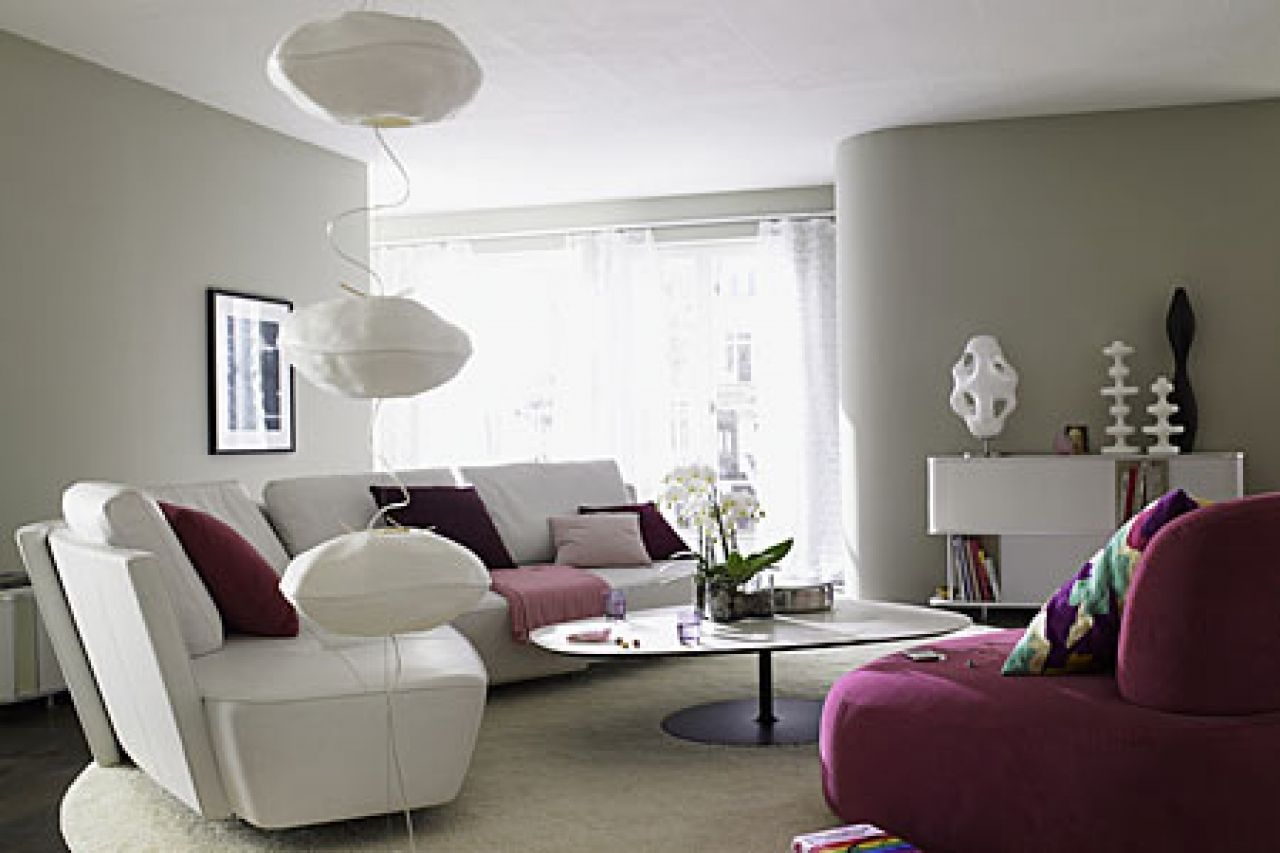 Modern Living Room With Grey Color Gray Purple Modern Gray Living Grey Paint Living Room Living Room Grey Living Room Green
