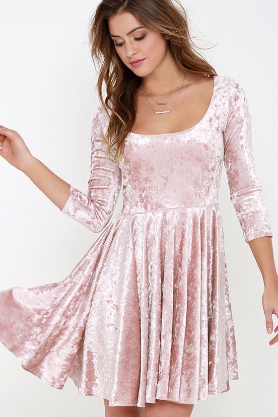 I Love You Amore Blush Pink Velvet Skater Dress  60d1be104
