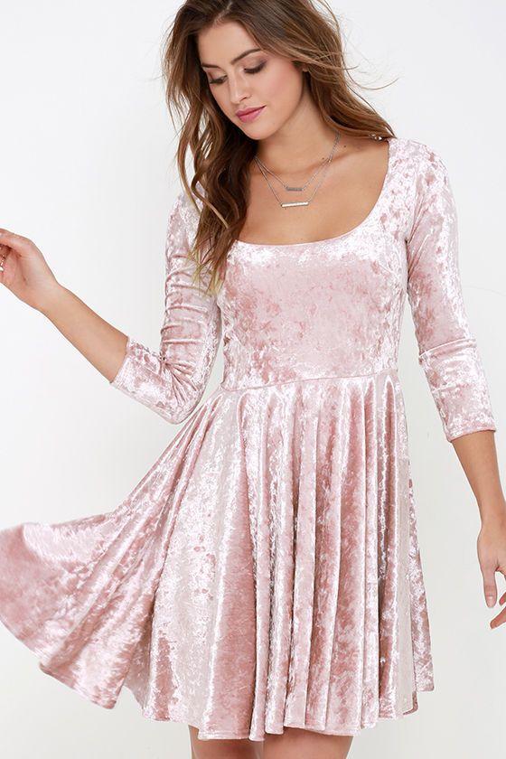 3c3995f697 I Love You Amore Blush Pink Velvet Skater Dress at Lulus.com!