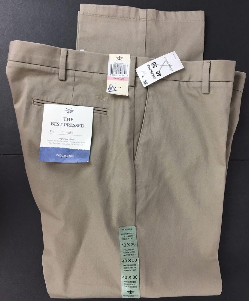 236f7f06 NWT DOCKERS 40 X 30 Signature Khaki The Best Pressed Straight Fit Stretch  Beige #DOCKERS #KhakisChinos