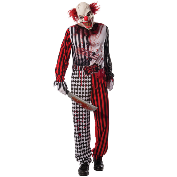 Professional Quality Full Head Neck Jester Mask Halloween Joker Psycho Costume