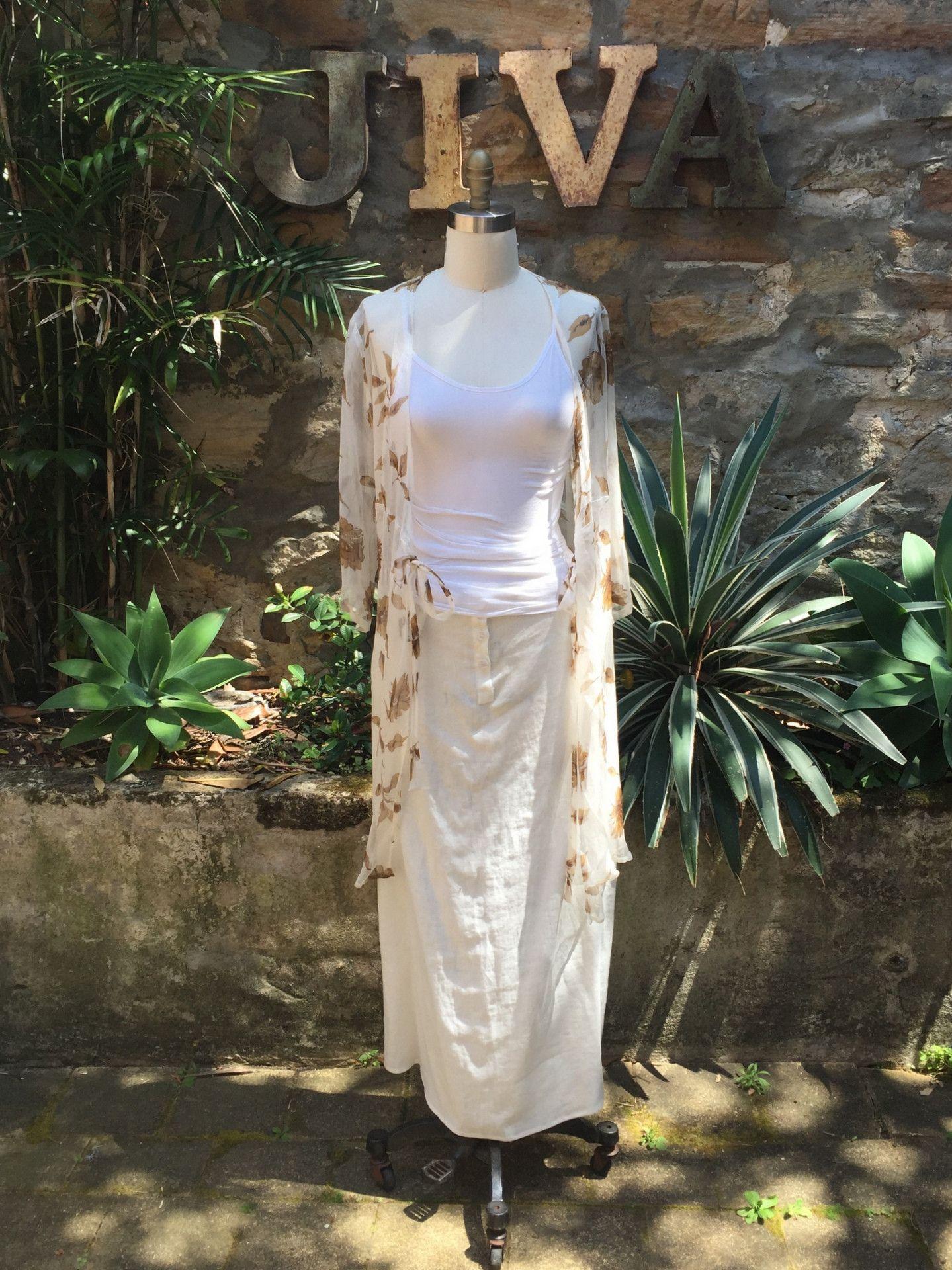 802dcdffeb Jiva Silk Georgette Wrap Dress - Ivory with Tan Flower – Jiva Clothing