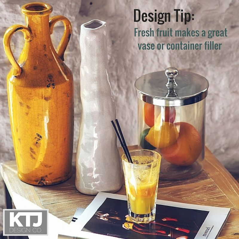 Design Tip: Fresh fruit makes a great vase or container filler.  #decortip  #youneedthis #interiordesignerthatgetsyou #KTJDesignco