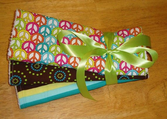 Peace Sign Baby Burp Cloth Set of 3 Groovy by Amandamaetucker, $15.00