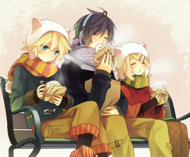 Photo of Vocaloids, bench, eating, steamed buns; Vocaloid