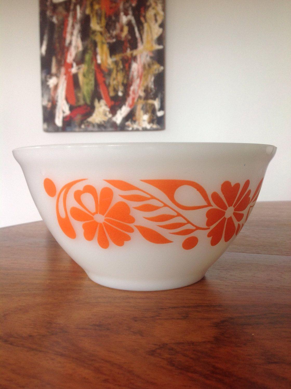 Vintage Pyrex bowl, orange flowers, mixing bowl, retro Kitchenalia ...