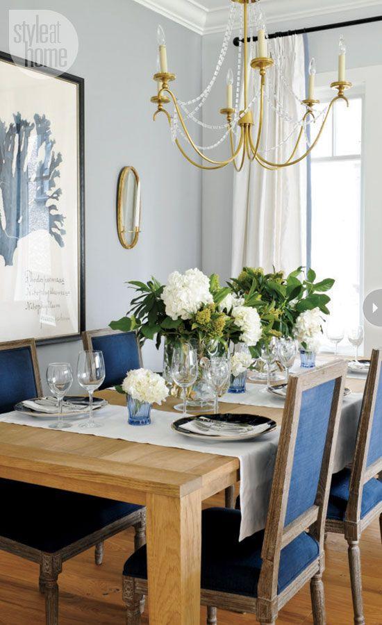 Brass Chandelier Rustic Wood Farmhouse Table Pale Blue Walls Coastal Dining Room