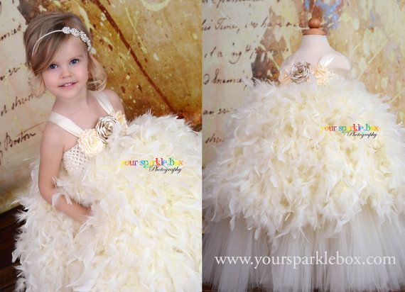 Flower girl feather dress