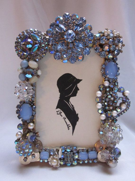 Vintage repurposed rhinestone jewelry embellished picture for Embellished mirror frame
