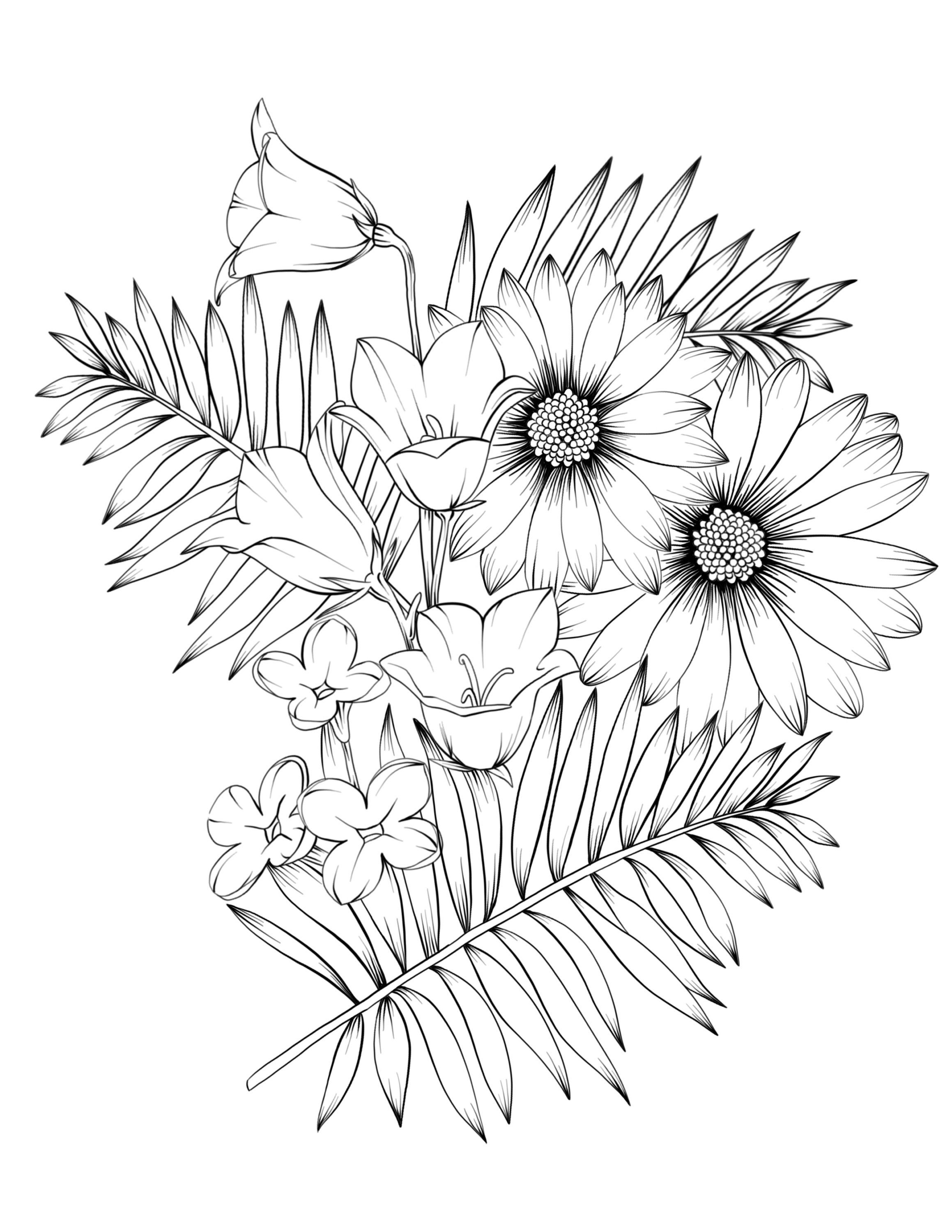 Adult Coloring Book Botanicum Flowers Digital Coloring 15 Pages