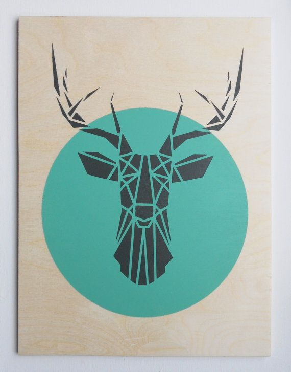Large Deer Head Plywood Handmade Stencil Art Geometric Origami Original On Etsy 8477 CAD