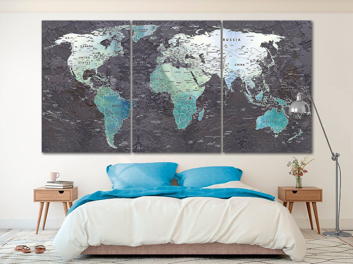 World map canvas World map decor Large world map Travel art ...
