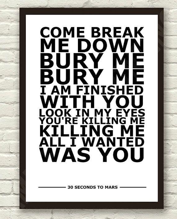 30 Seconds To Mars, The Kill lyrics. (Bury Me) | Relevant ...