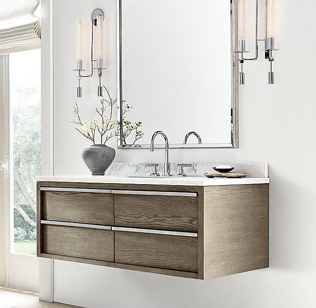 Rh Modern S Bezier Single Extra Wide Floating Vanity Designed By The Van Thiels Our Collection 39 S Bold Floating Vanity Bathroom Vanity Trends Vanity Design