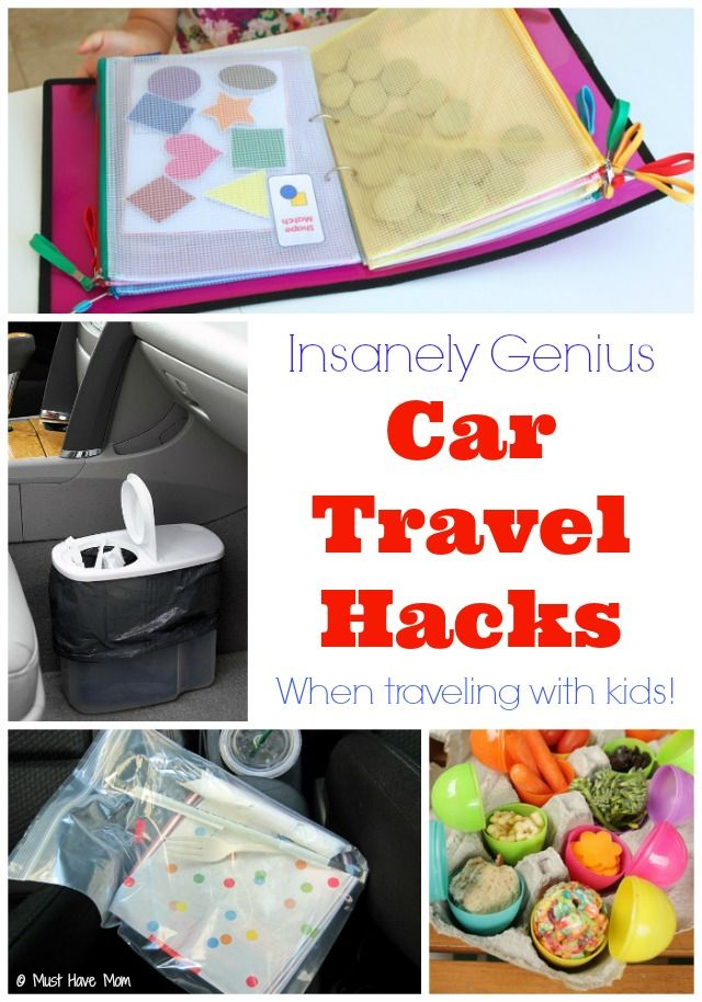insanely genius car travel hacks when traveling with kids love the car garbage can idea