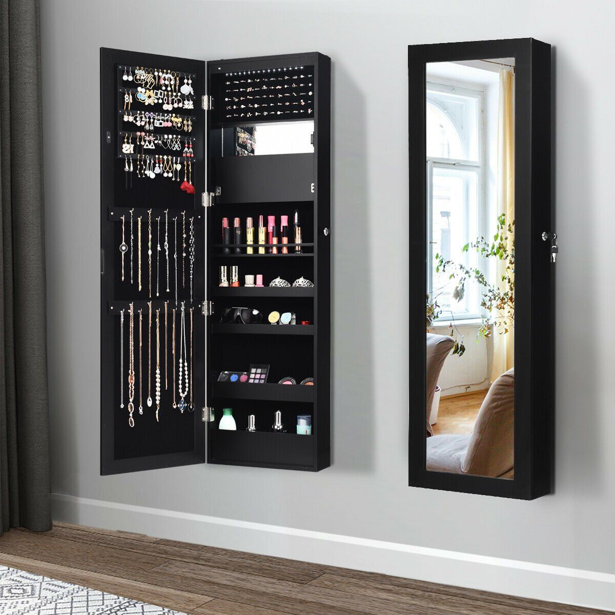 Gymax Wall Door Mounted Lockable Jewelry Cabinet Armoire Organizer W Led Walmart Com Wall Mounted Jewelry Armoire Jewelry Cabinet Mirror Jewellery Cabinet