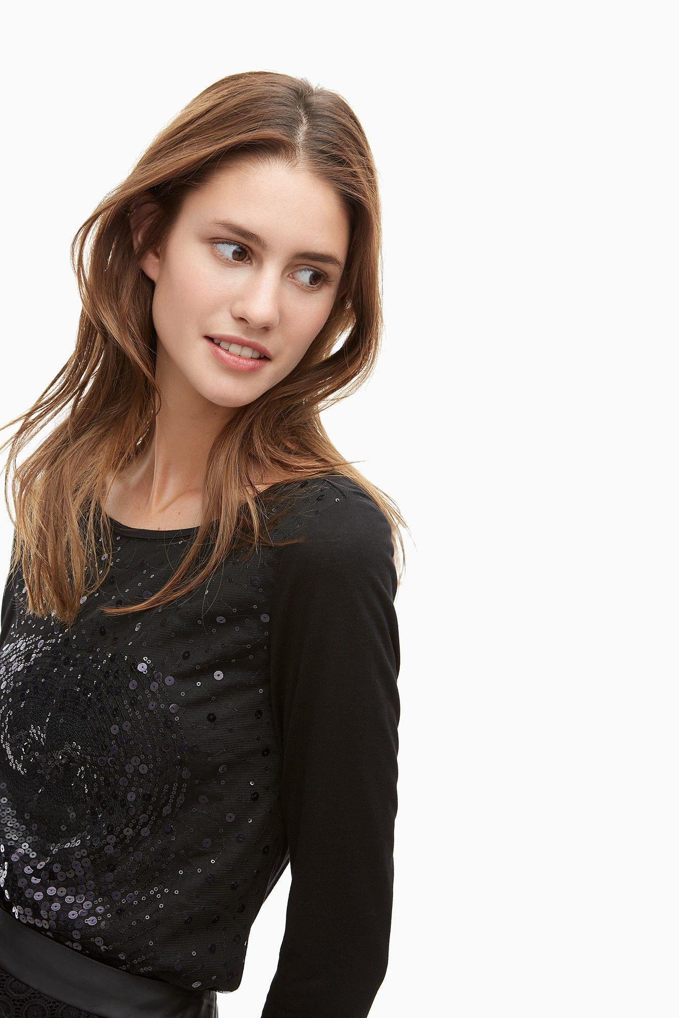 Camiseta con búho de lentejuelas - camisetas | Adolfo Dominguez shop online