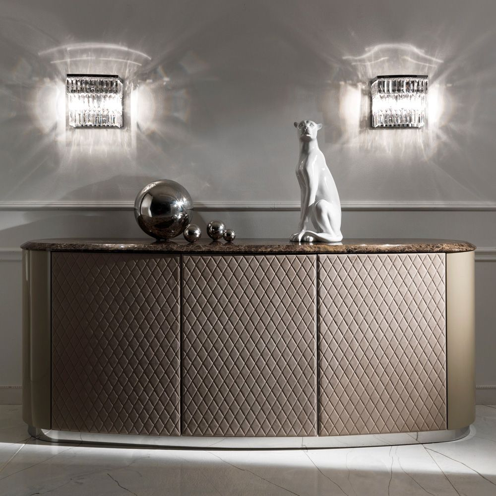 Curved High End Lacquered Quilted Leather Sideboard