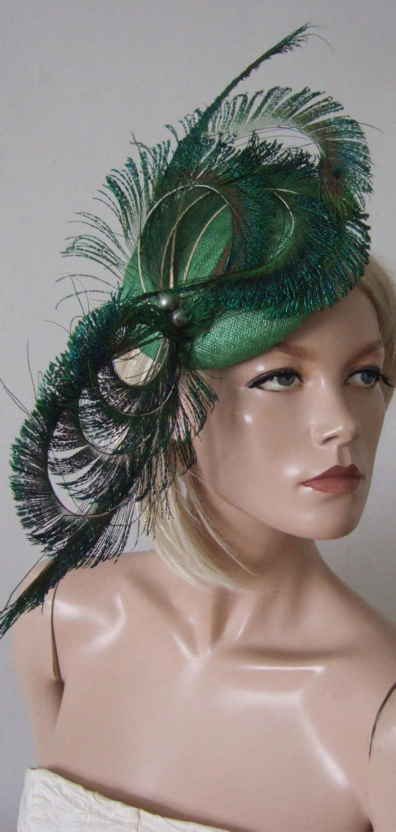 Assorted Cols. Large Sinamay Net /& Feather Fascinator// Hatinator on Headband