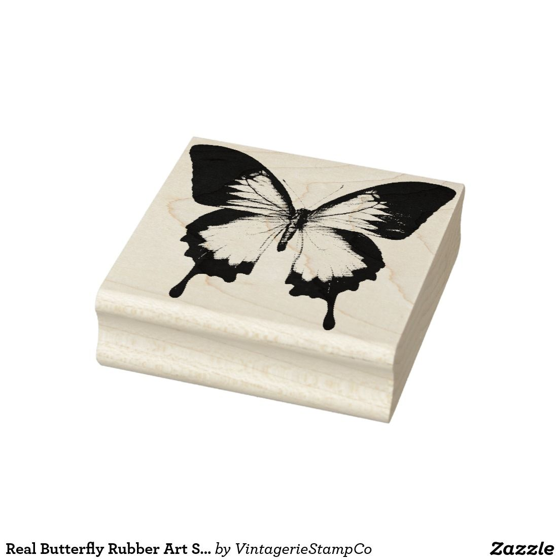 Real Butterfly Rubber Art Stamp