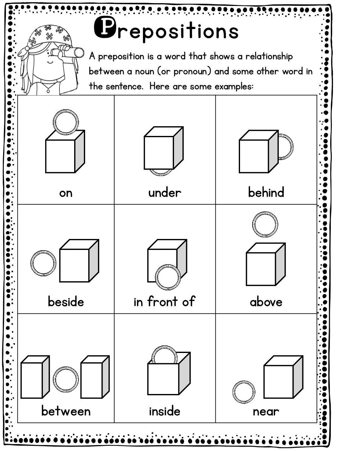 Preposition Worksheets For Kindergarten In