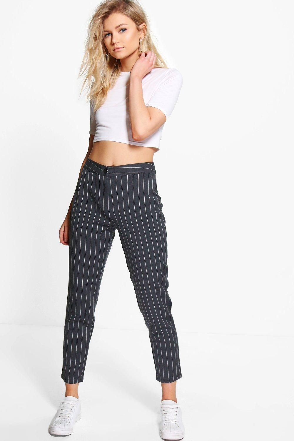 28b79270d4 Petite Stripe Tapered Pants in 2019 | Outfits | Tapered trousers ...