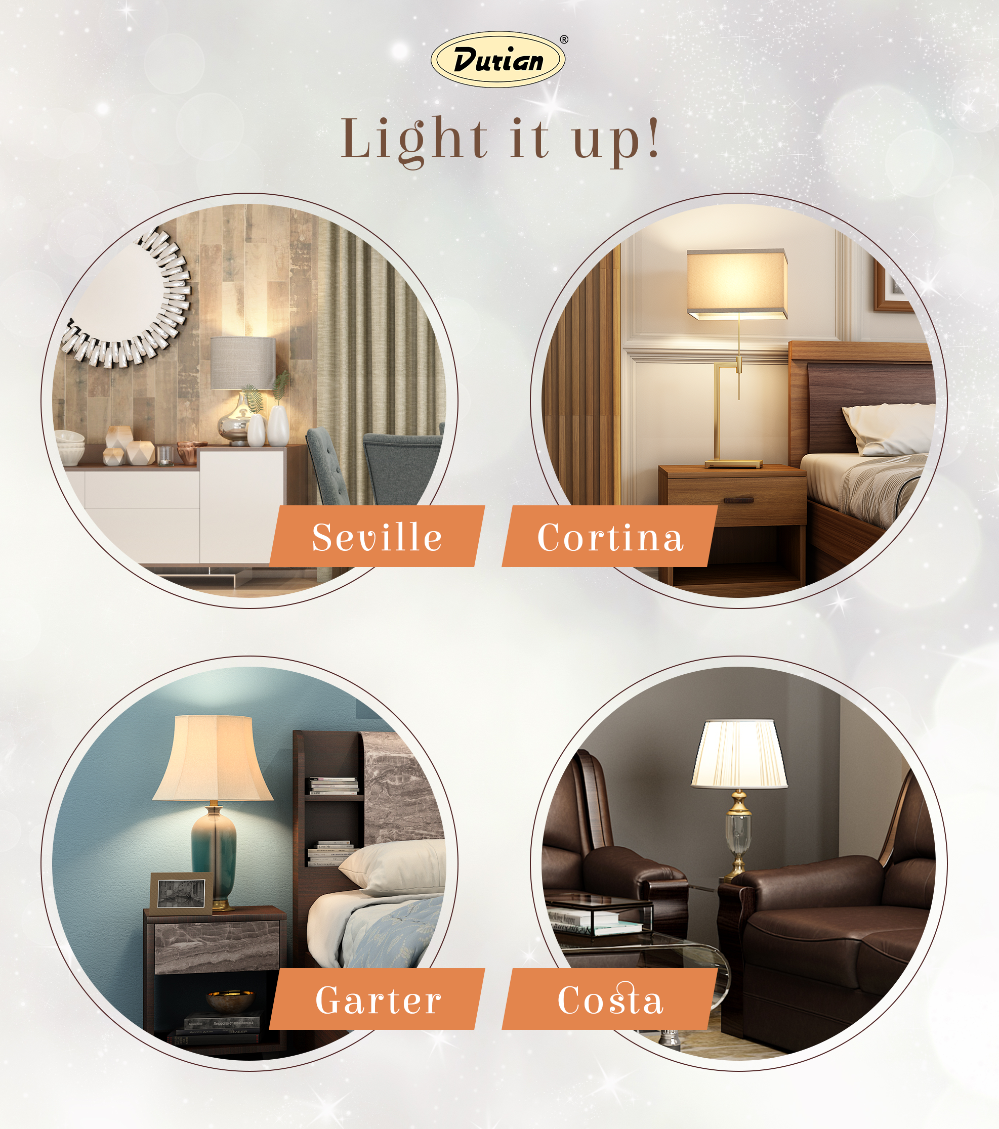 Put together a warm corner with lamps, paintings and mirrors along with your collected antiques and decor from across your travels.  #DurianFurniture #RoomDecorIDeas #Lamps #LampShades #LivingRoomDecor #BedroomDecorIdeas