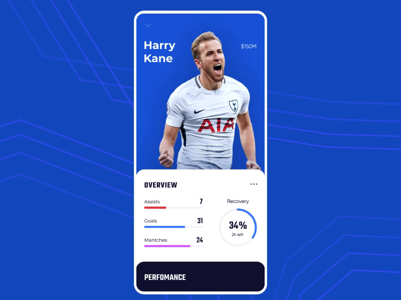 Soccer player profile by SELECTO App design inspiration