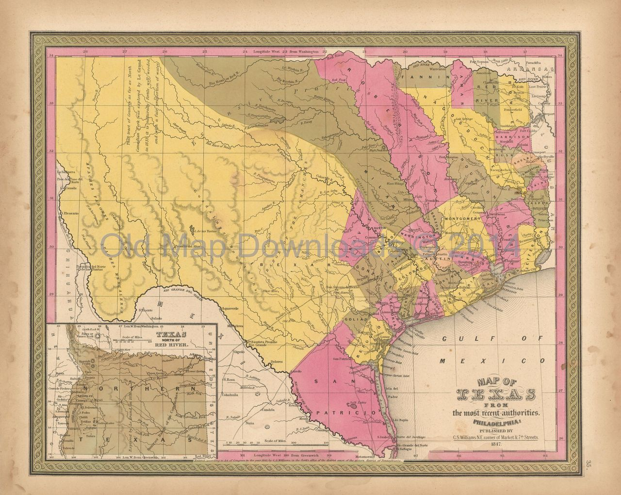 Texas State TX Old Map Mitchell 1847 Digital Image Scan Download