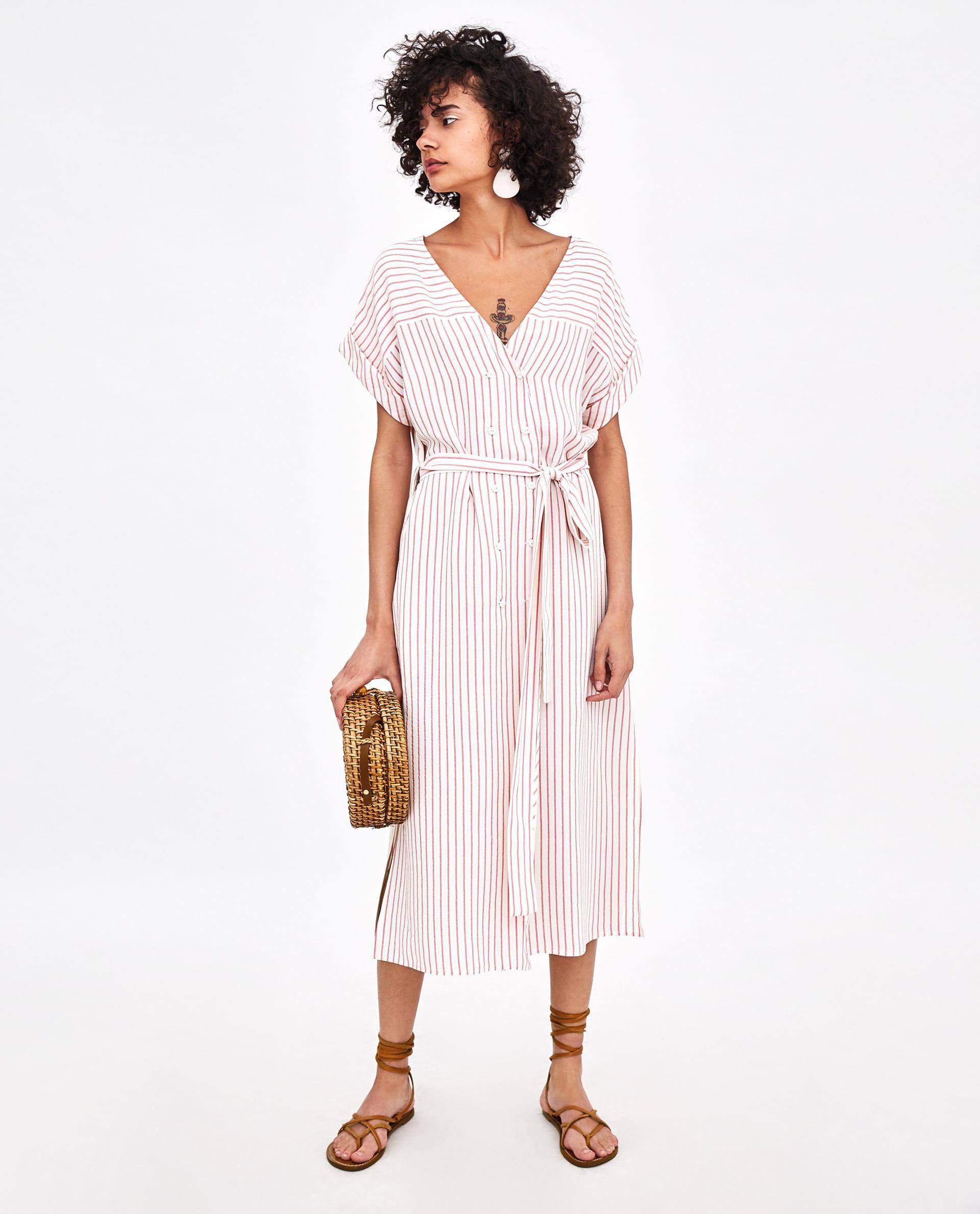 Vestido Midi Rayas Shirtkleid Sommerkleid Legere Kleider