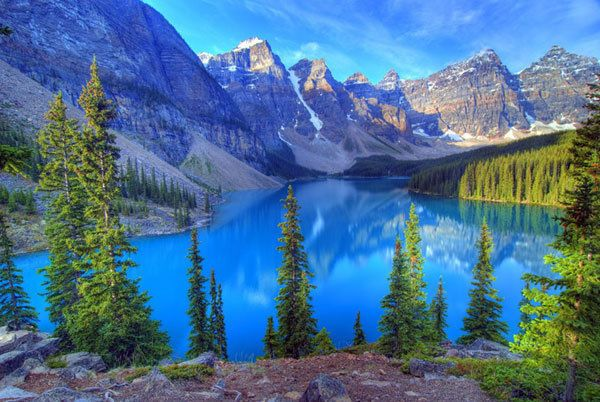98ad7f8c29f 9.99AUD - Azure Blue Lake Banff Rocky Mountain 3D Full Wall Mural Wallpaper  Home Decal Dec  ebay  Home   Garden