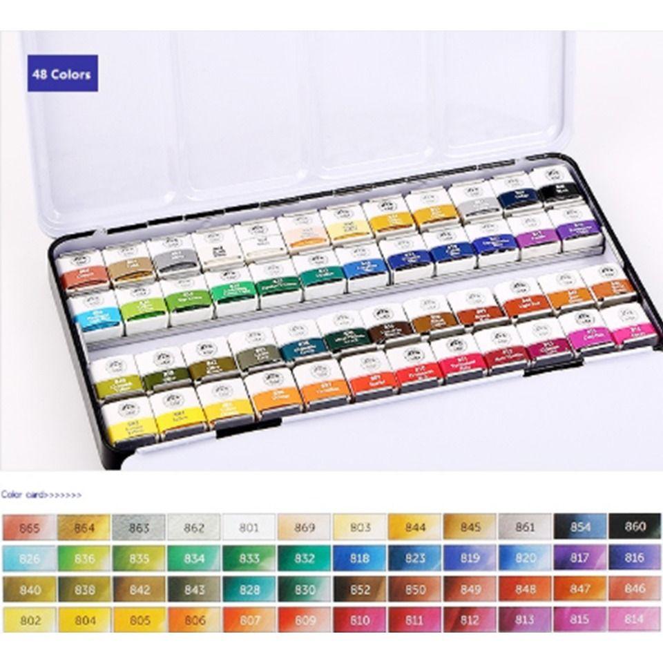 Watercolor Paint Fine Art Painting Travel Set 12 Pan Kit Sable