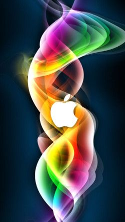 White Apple Logo With Colorful Abstract Background Wallpaper