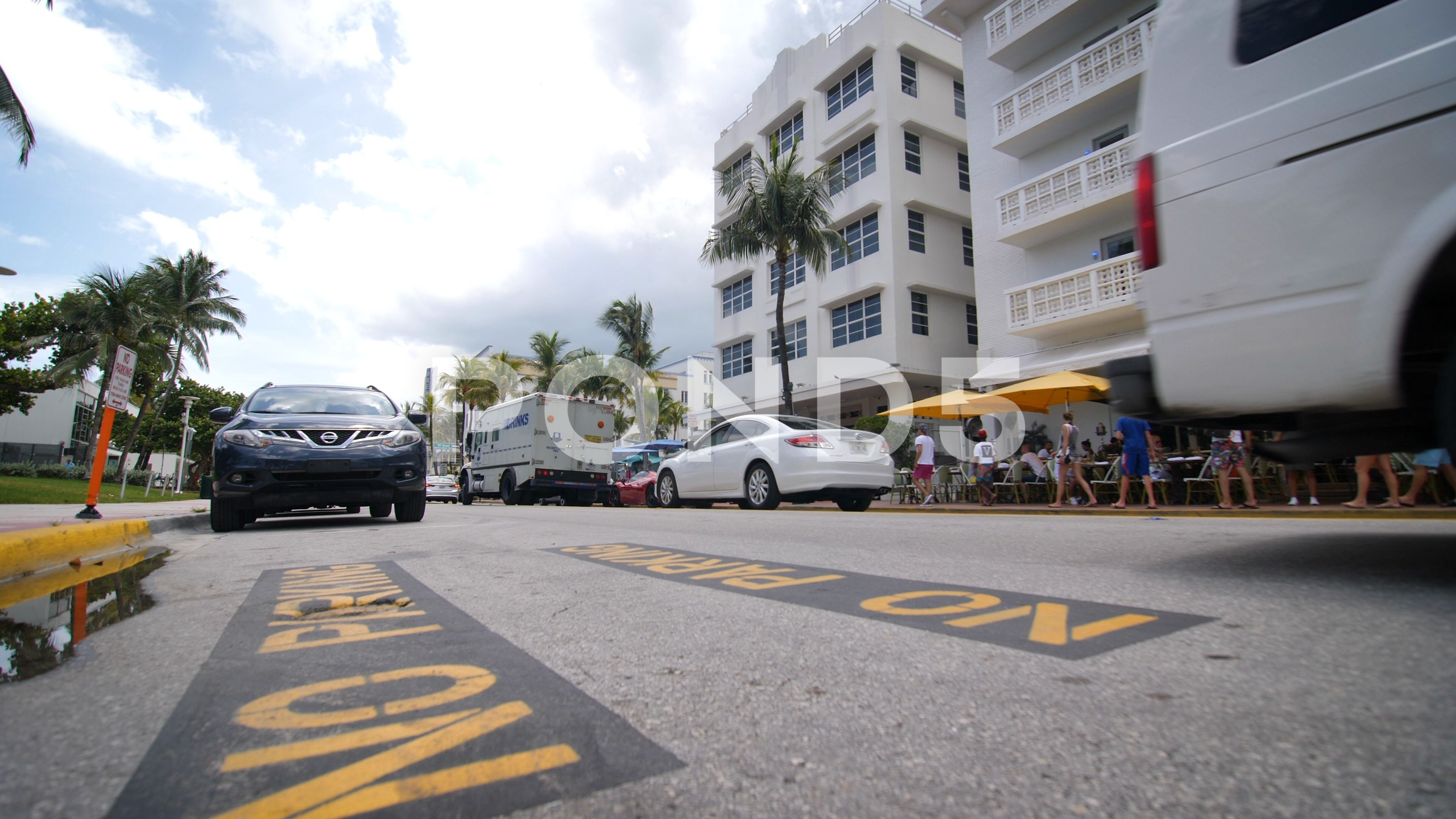 no parking sign on miami beach ocean drive stock footage #