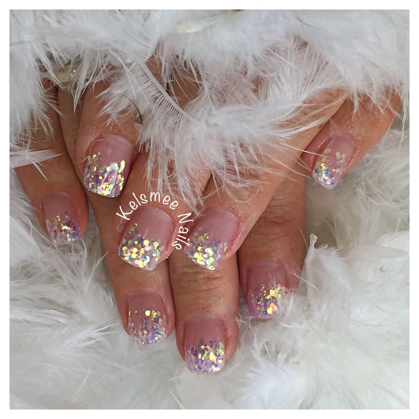 Youngnails acrylic French with heavenly stardust glitters | Nail Art ...