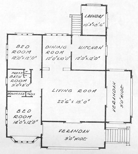 Description Floor Plan For Porch And Gable Bungalow With Two Forward Gables And Flat Roofed Side Verandah Area 1640 Square Roof Siding How To Plan Flat Roof