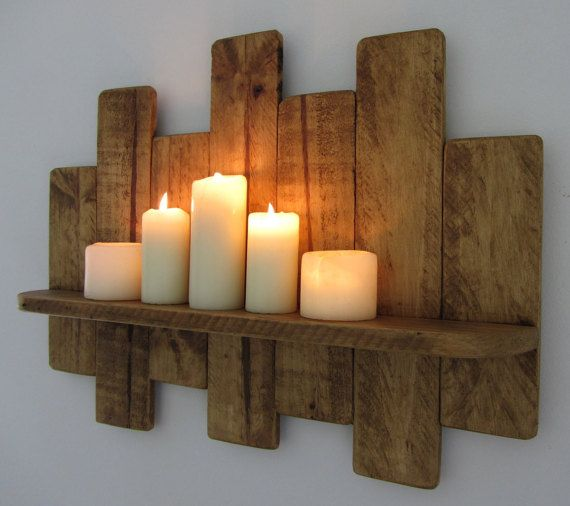 65cm reclaimed pallet wood floating shelf led candle holder shabby chic country cottage. Black Bedroom Furniture Sets. Home Design Ideas
