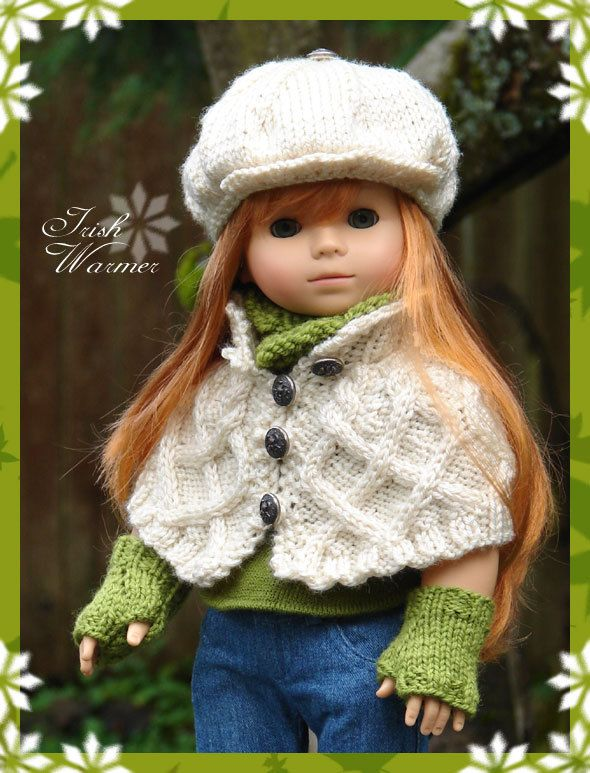 """Irish Warmer, is a hand knitted cabled capelet with newsboy cap, cowl and fingerless-mitts fits American Girl Dolls & 18"""" Gotz Dolls. $24.95, via Etsy."""