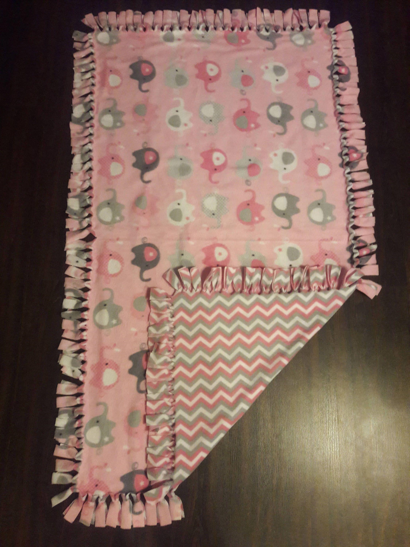 Pink Baby Elephants u Chevron NoSew Fleece Throw Blanket in