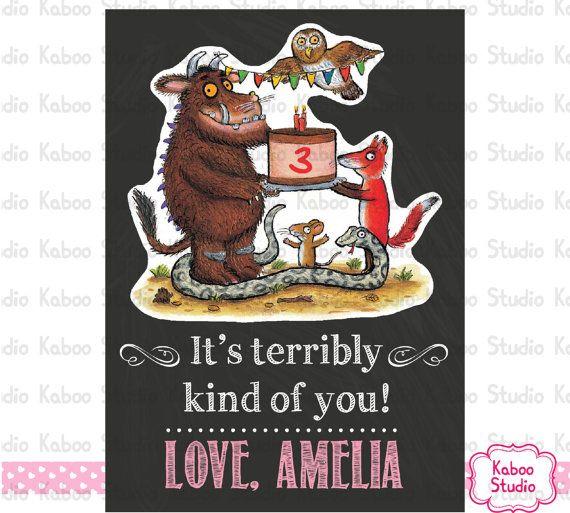 Guuffalo Thank You Card Gruffalo Birthday Party Thank You You Print Yourself Thank You Cards Birthday Party Kids Cards