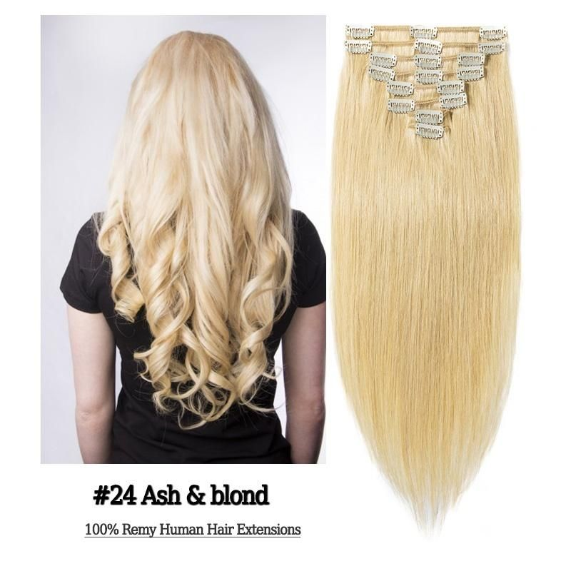 100% Remy Human Hair Extensions Clip (8Pcs/Set) #humanhairextensions