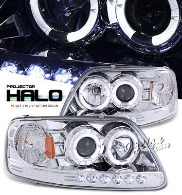 Ford F150 1997 2003 Clear Halo Projector Headlights With Led Ford F150 Ford F150 Accessories F150