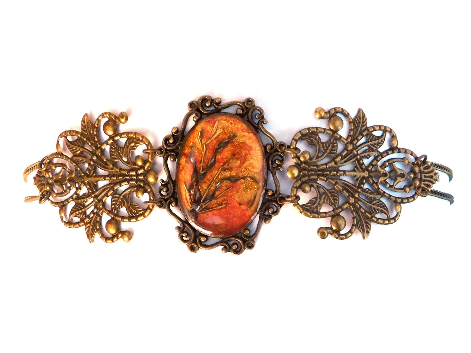 """lovely necklace """"amber flower"""", red gold bronze, steampunk"""