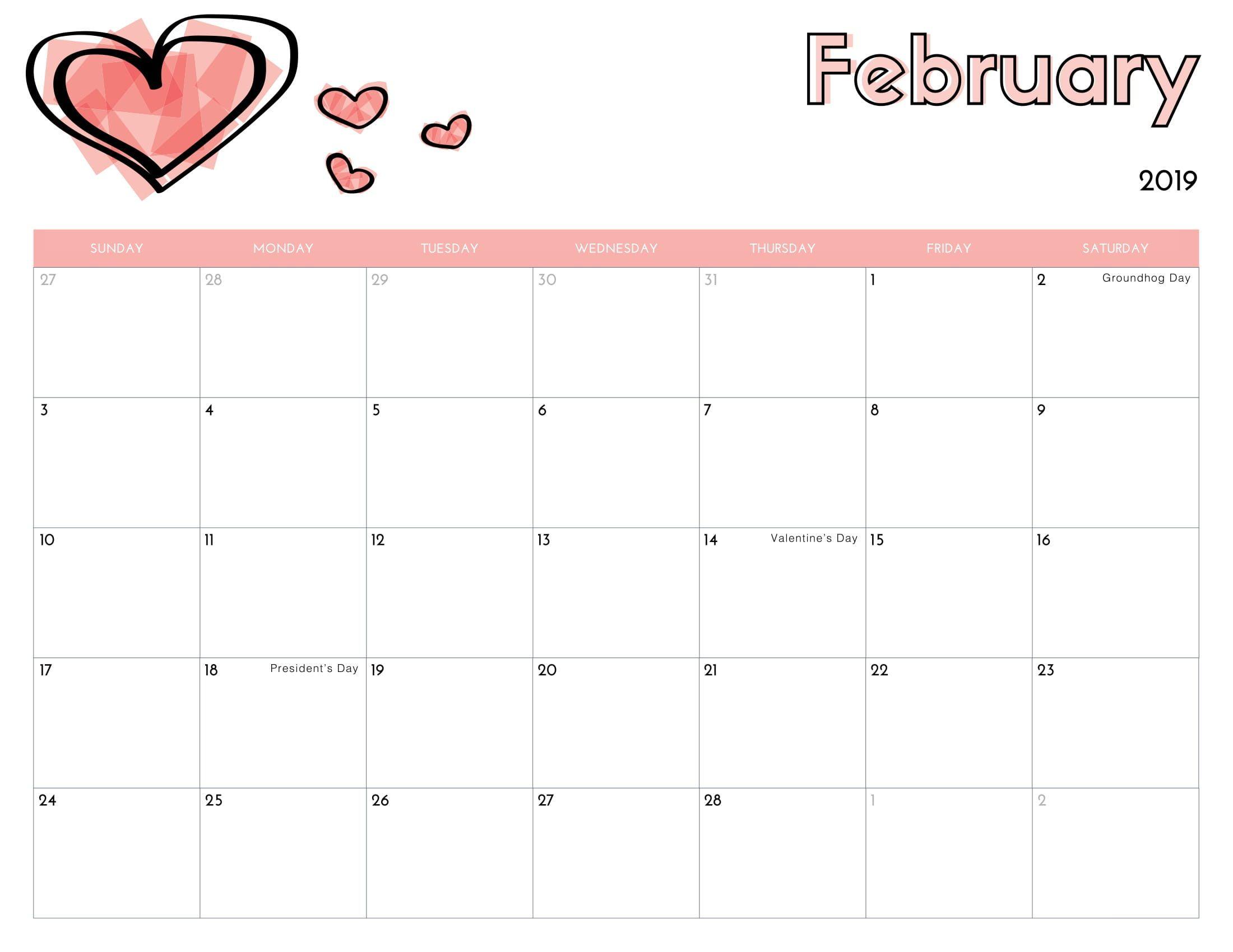February Heart 2019 Calendar Calendar February 2019 With Holidays. #february #february2019