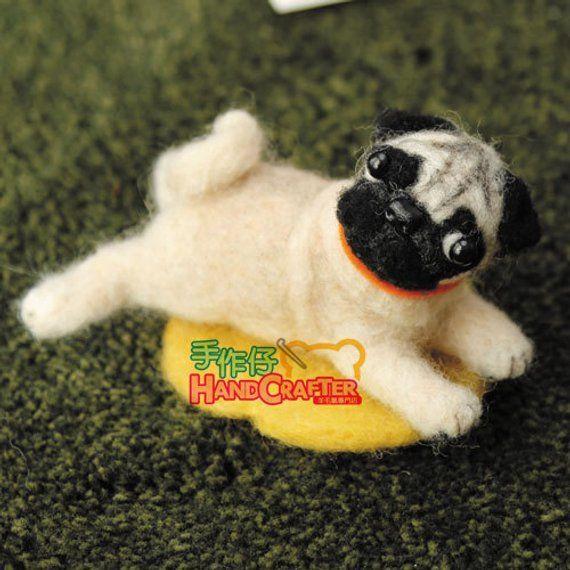 Diy Handmade Wool Felt Kit Pug Japanese Kit Package Needle