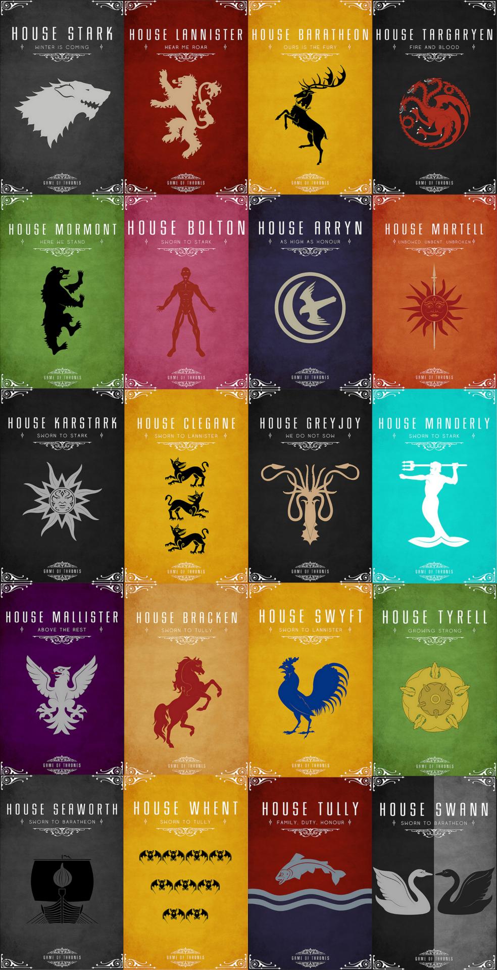Las casas de gameofthrones o cancion de hielo y fuego - Juego de tronos casas ...
