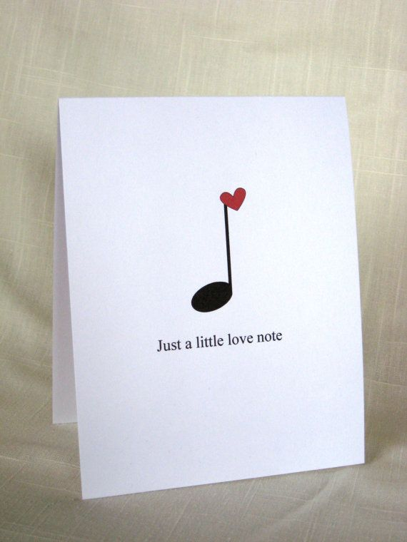 Music Note Card Set - Black and Red Valentine Cards - Set of 8