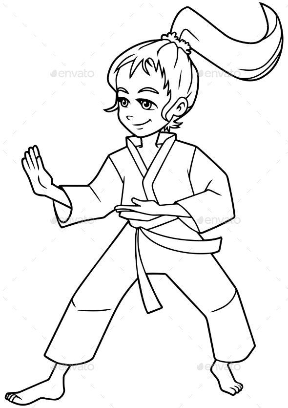 Karate Stance Girl Line Art Line Art Martial Arts Girl Art